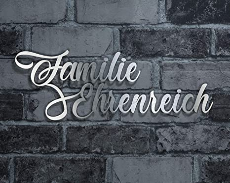 Wand Deko Firmen-Schild Design Schriftzug aus V2A Edelstahl Wunsch-Schriftzug Stra/ßenname Hausnummer oder Familien-Name