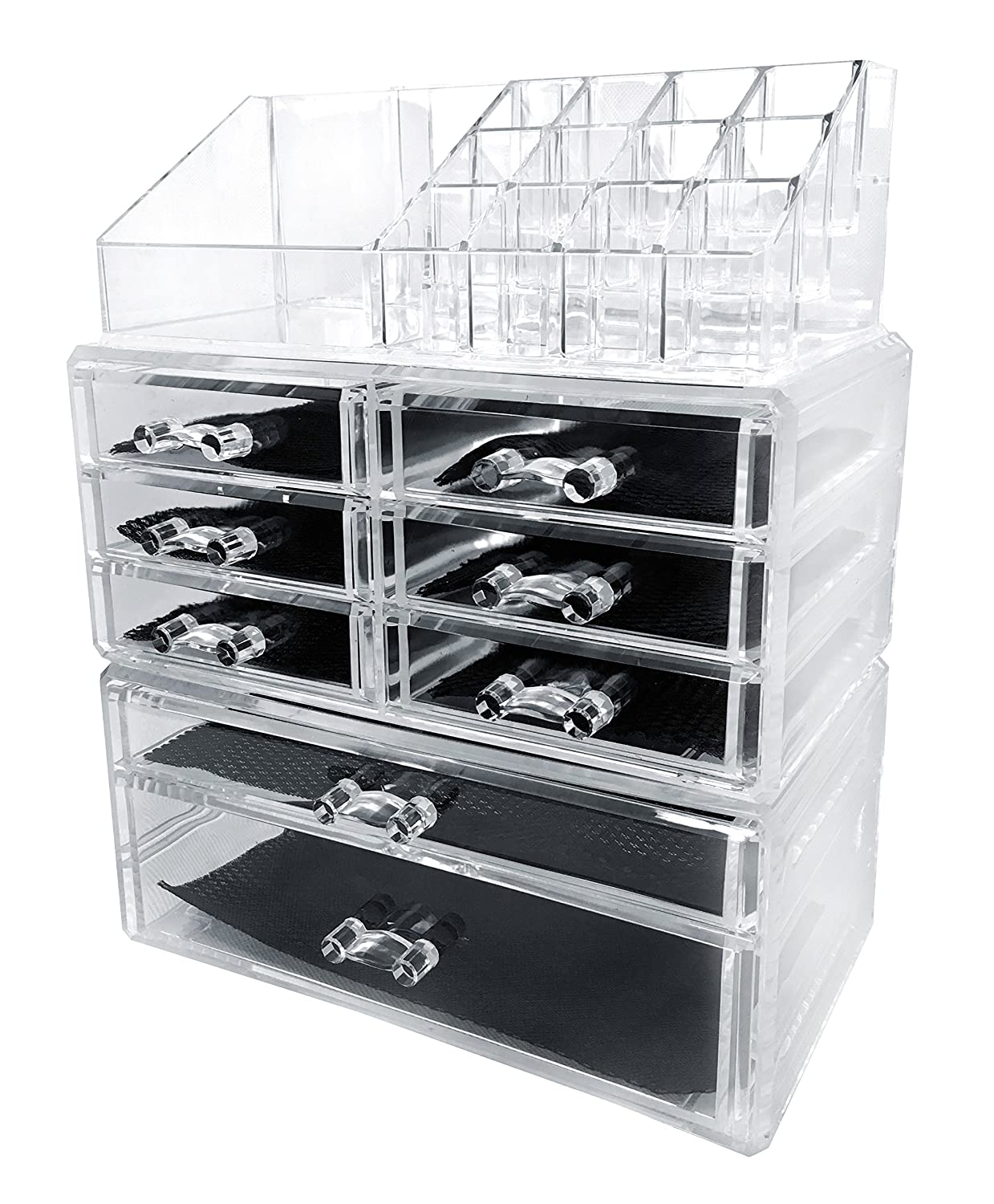 Amazon Com Sodynee Acrylic Makeup Cosmetic Organizer Storage Drawers Display Boxes Case Three Pieces Set Home Kitchen