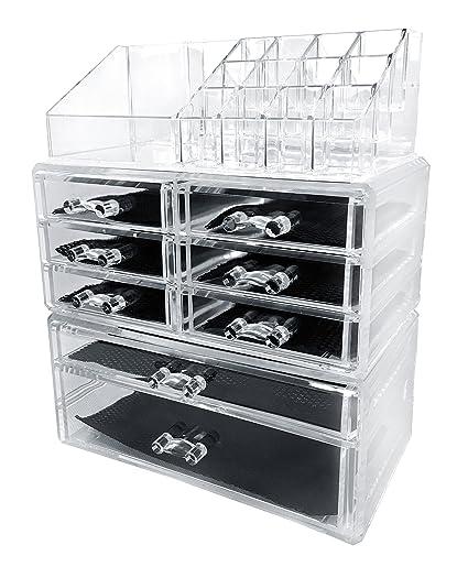 Sodynee Acrylic Makeup Cosmetic Organizer Storage Drawers Display Boxes Case Three Pieces Set  sc 1 st  Amazon.com & Amazon.com: Sodynee Acrylic Makeup Cosmetic Organizer Storage ...