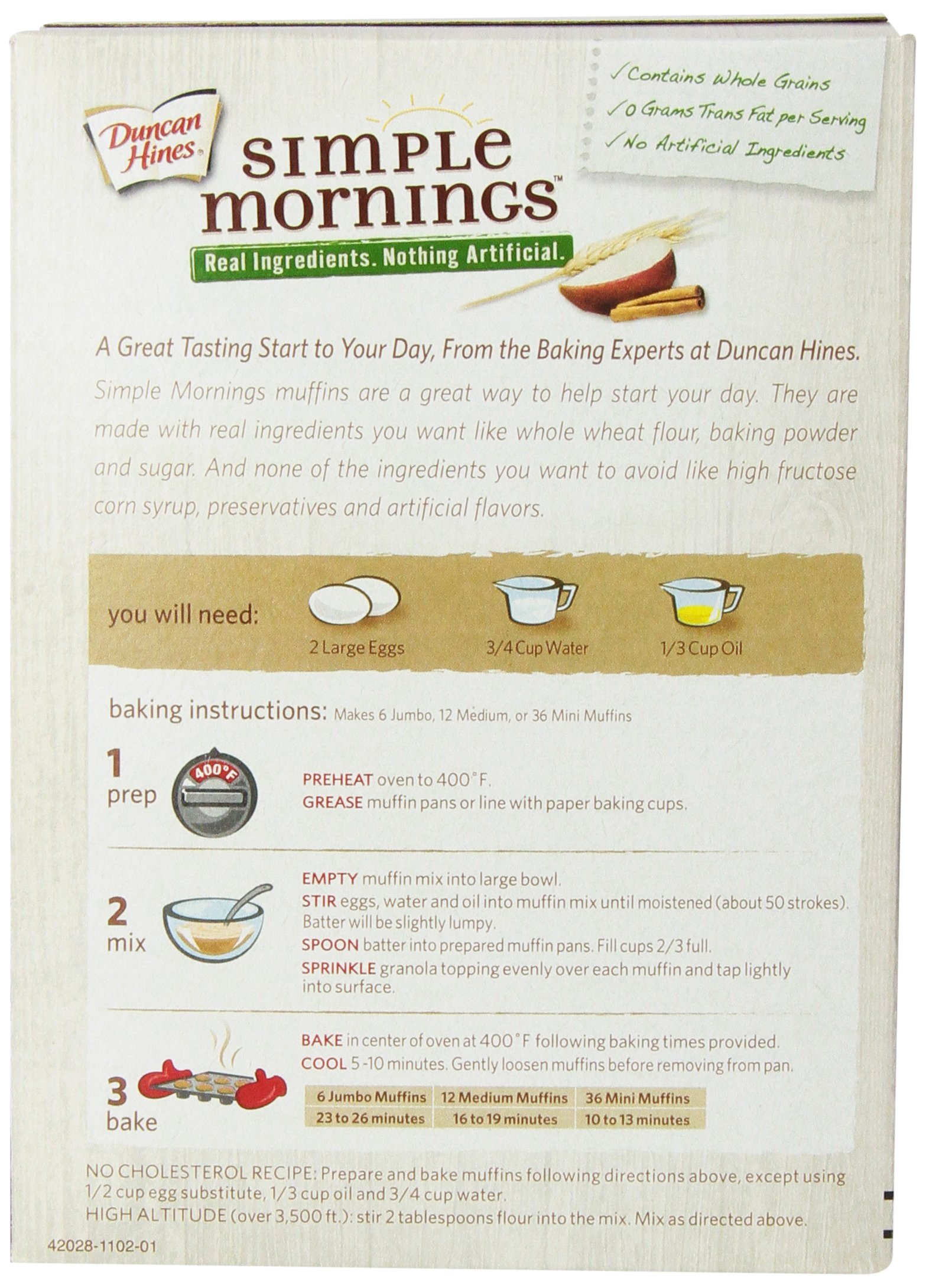 Duncan Hines Simple Mornings Oatmeal Muffin Mix, Apple Cinnamon, 16.1-Ounce (Pack of 12) by Duncan Hines (Image #5)
