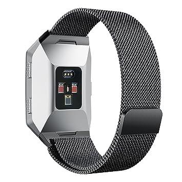 DakTou Brazalete Apropiado Fitbit Ionic, Acero Inoxidable Milanese Loop Reemplazo Accesorios Pequeños Grandes Bandas para