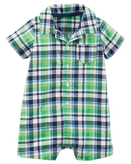 0eb1c688d84e Amazon.com  Carter s Baby Boys Plaid Romper - Green  Clothing