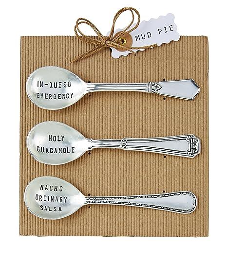 Amazon Com Mud Pie Circa Salsa Spoon Set Silver Kitchen Dining