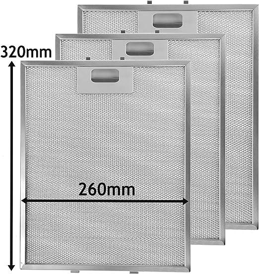 Spares2go Malla Metálica Filtro para campana de cocina Smeg/ventilador Extractor ventilación (Pack de 3 filtros, Plata, 320 x 260 mm): Amazon.es: Hogar