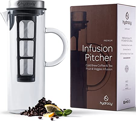 Cold Brew Coffee Maker – Large Glass Infusion Pitcher 1.6 Quarts 52oz – Iced Coffee Iced Tea Pitcher with Stainless Steel Lid Fine Mesh Filter – EXTRA Fruit Infusion Tube-Perfect Gift for Home