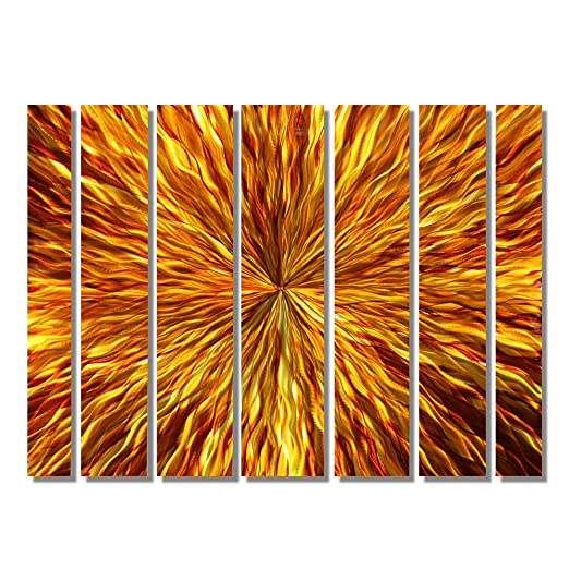 Over-Sized Red, Gold & Orange Amber Modern Abstract Metal Wall Art