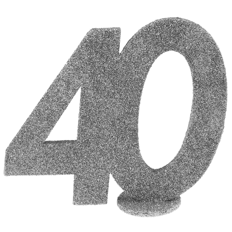 Xxl Tischdeko Zahl 40 Geburtstag Silber Glitzer 1 Stuck Party Deko