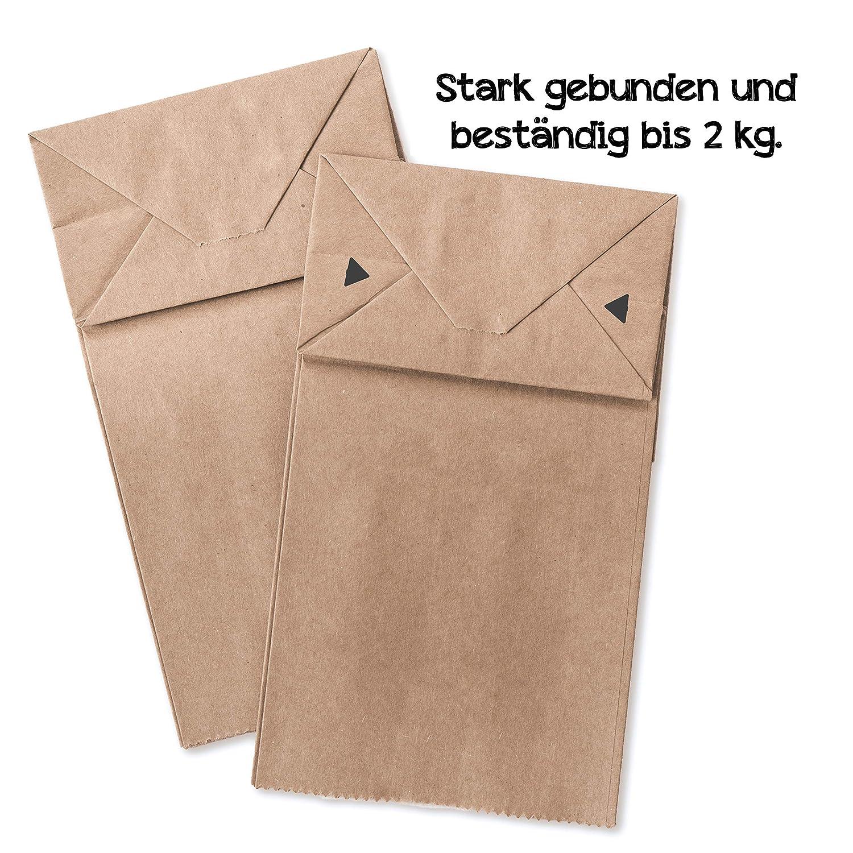 70 g//m2 bustine sacchetti con fondo Kraft carta per sacchetti regalo regali pugilato Calendario dell Avvento 100 sacchetti di carta con fondo 9 x 16 x 5 cm.