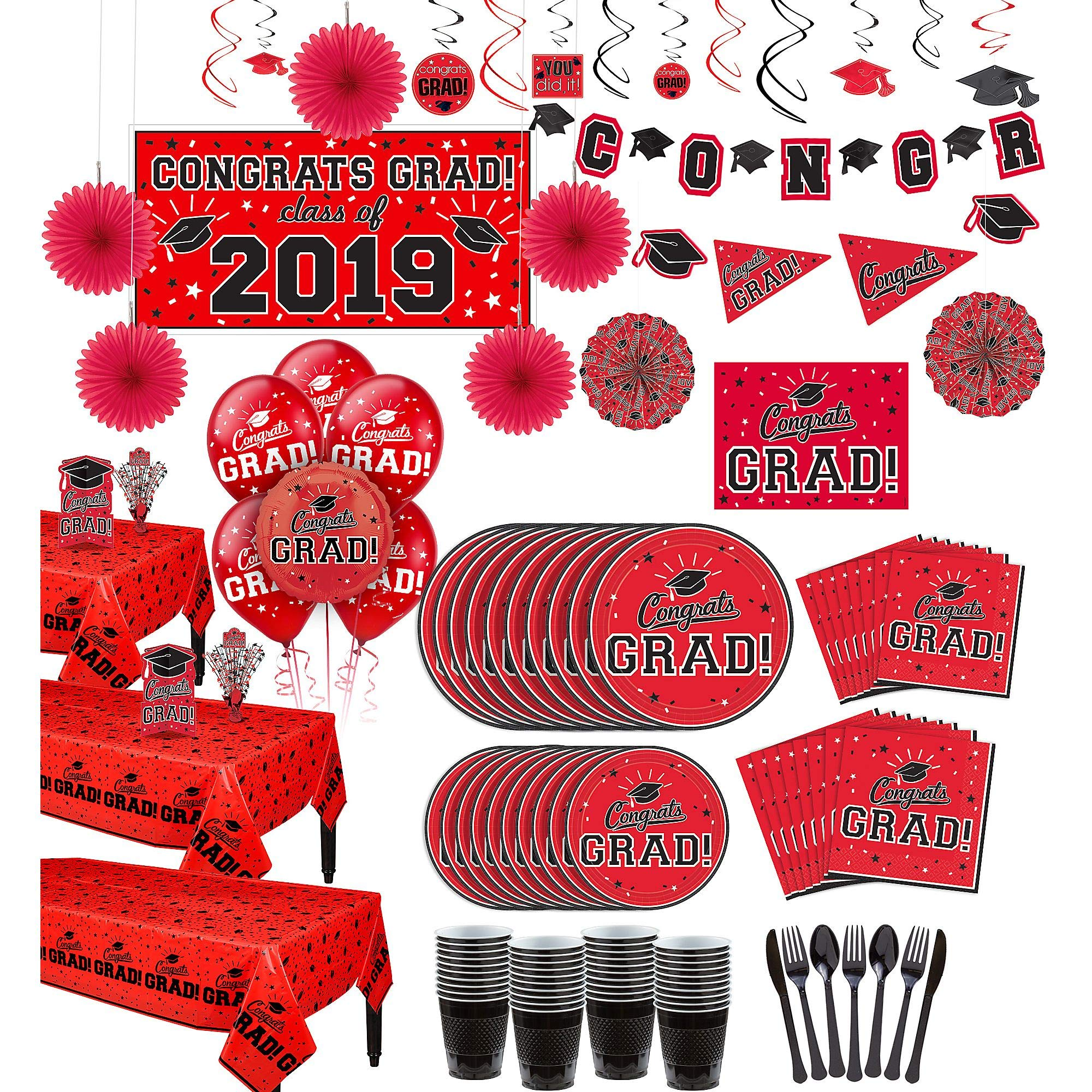 Party City Super Congrats Grad Red 2019 Graduation Party Supplies for 54 Guests with Banner, Tableware and Balloons