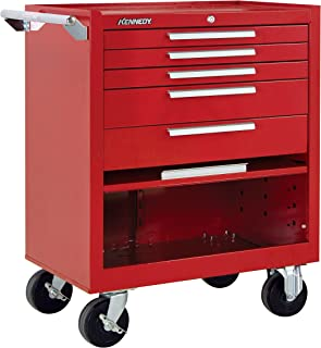 "product image for Kennedy Manufacturing 295Xr 29"" 5-Drawer Industrial Tool Storage Roller Cabinet With Chest And Wheels, Industrial Red"