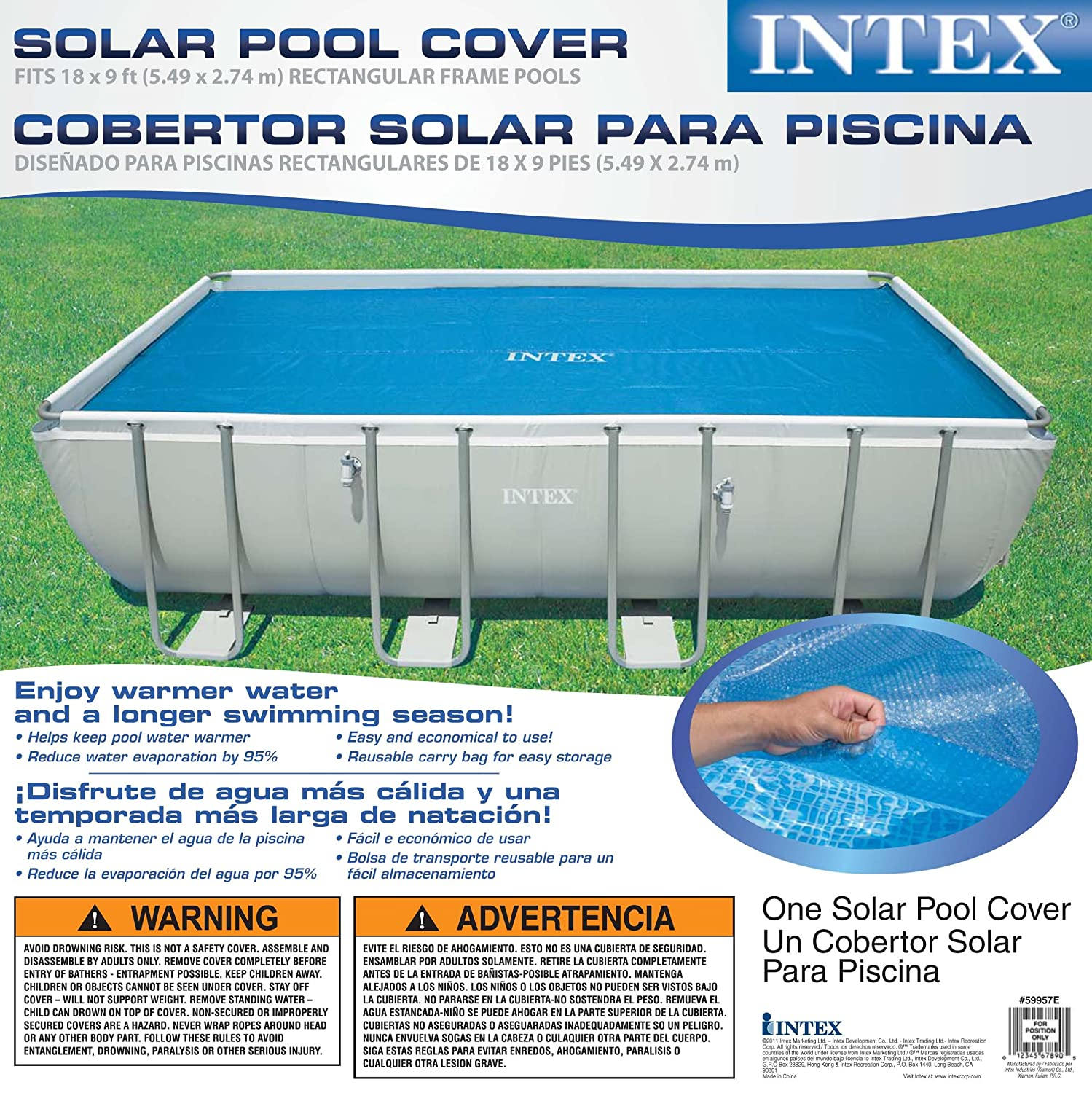 amazoncom intex solar cover for 18ft x 9ft rectangular frame pools measures 17 8 x 8 4 swimming pool covers patio lawn garden