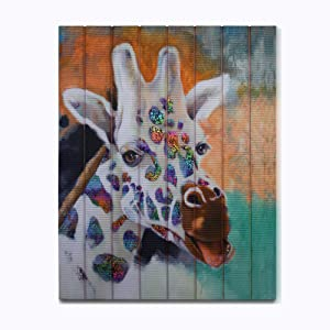 Giraffe Wall Art Animal Ribbon Painting 21*18 Solid Wood Frame for Living Room Home Decor Painting