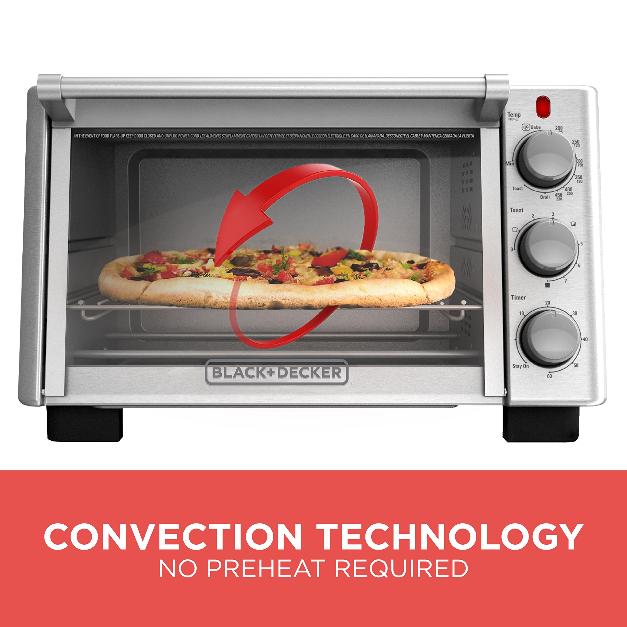 BLACK+DECKER 6-Slice Convection Countertop Toaster Oven, Stainless Steel/Black, TO2050S by BLACK+DECKER (Image #4)