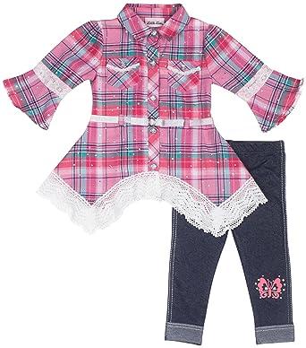c3820c84208d Amazon.com  Little Lass Baby Girls Plaid Button Down Leggings Set ...
