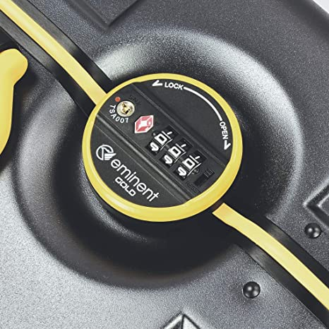 Eminent Hand Luggage Gold Crossover 54 cm 39 L Aluminium Frame 4 Double Silent Wheels TSA Lock Black//Yellow