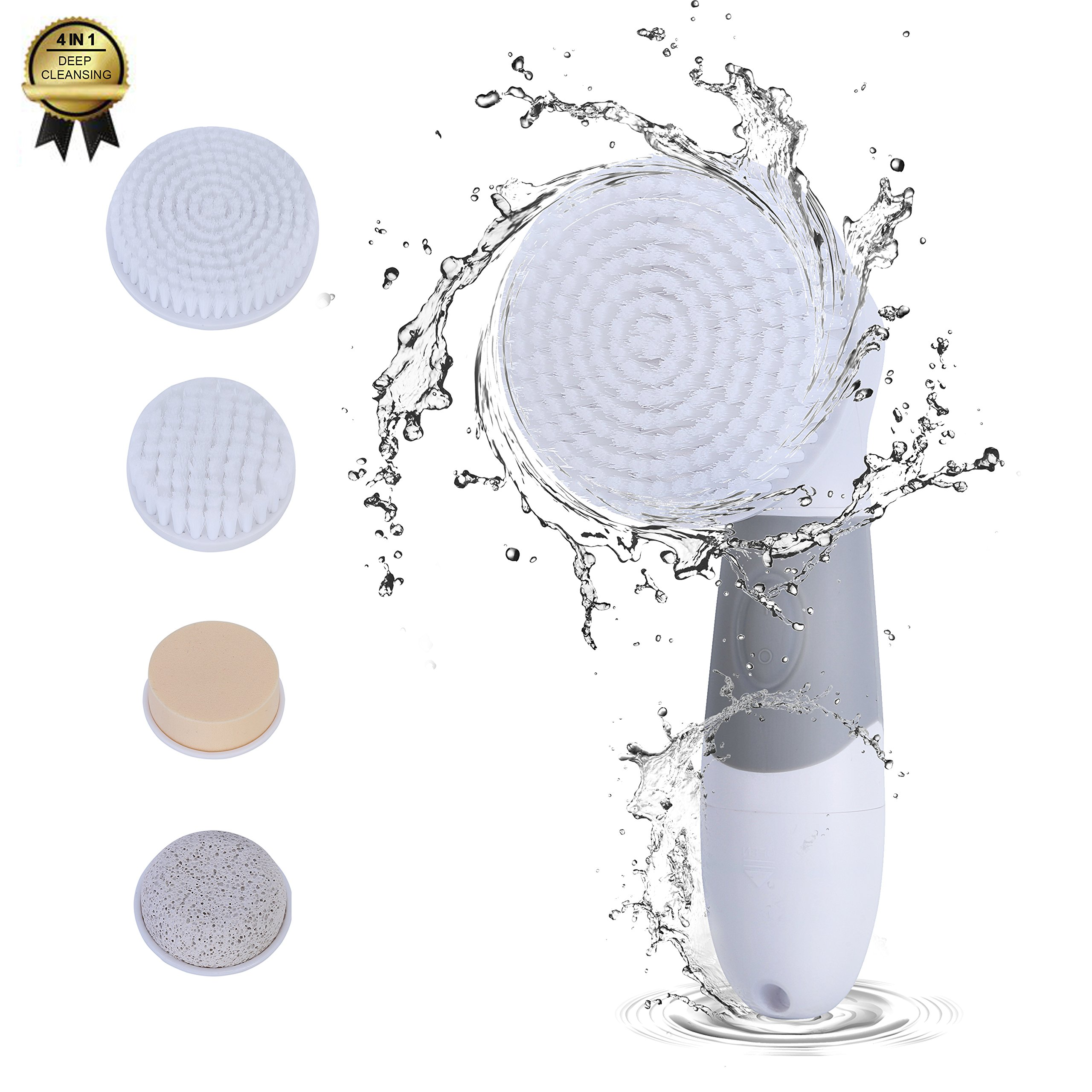 Facial Cleansing Brush Waterproof Electric 4 In 1 Face Brush Set Deep Cleaner For Exfoliating Removing Blackhead