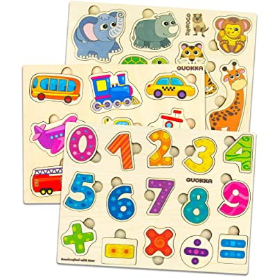 Quokka Wooden Puzzles for Toddlers 1 2 3 Year Olds, 3 Pack Puzzles, Kids and Babies Matching Game for Learning Numbers Vehicles Animal, Educational Wood Preschool Toys for Boys and Girls Ages 1-3: Toys & Games