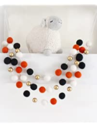 """Halloween Gold"" Handmade Felt Ball Garland by Sheep Farm Felt- Black White Orange and Gold Pom Pom Garland, Wool and..."