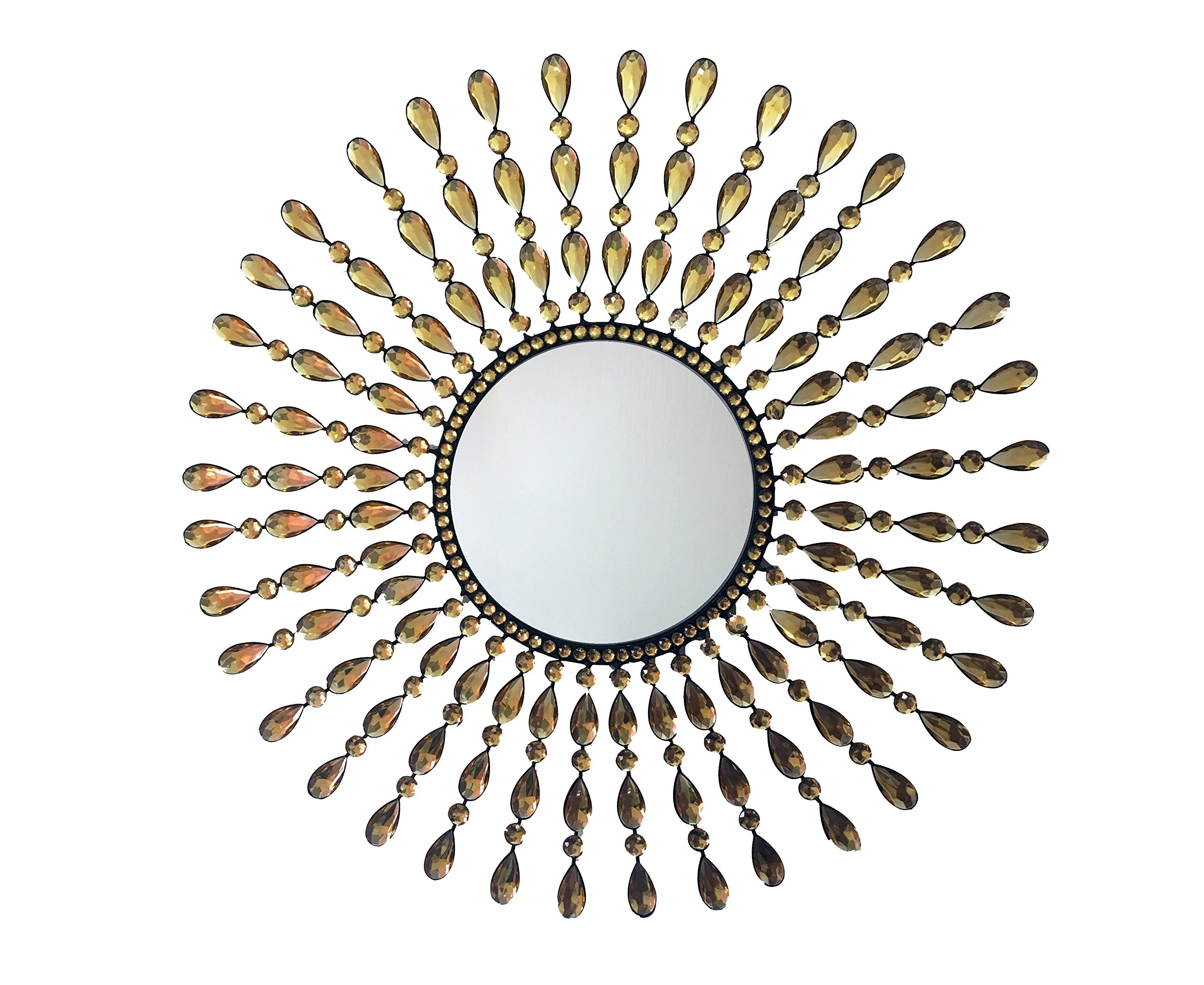 Sunburst Wall Mirror Decorative Home Accent with Drop Beautiful Champagne Crystals 25''inch Perfect for Living Room, Bathroom Wall Hanging Housewarming Gift