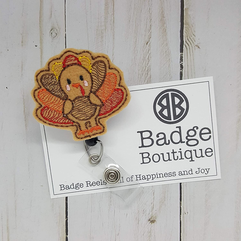 Turkey Badge Holder - Thanksgiving ID Badge Reel - Nurse ID Badge Holder - Nurse ID Badge Reel