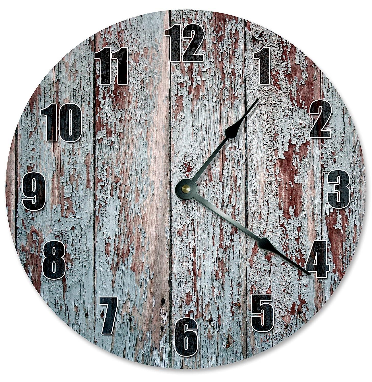 "Large 10.5/"" Wall Clock 2286 RUSTIC OLD WOOD Clock"