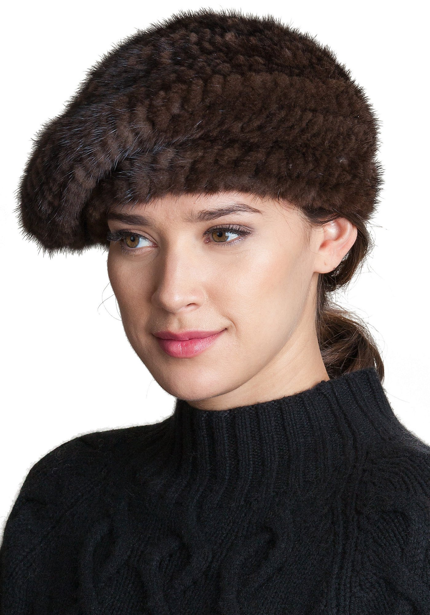 Overland Sheepskin Co. Knitted Mink Fur Beret, Brown, Size 1 Size