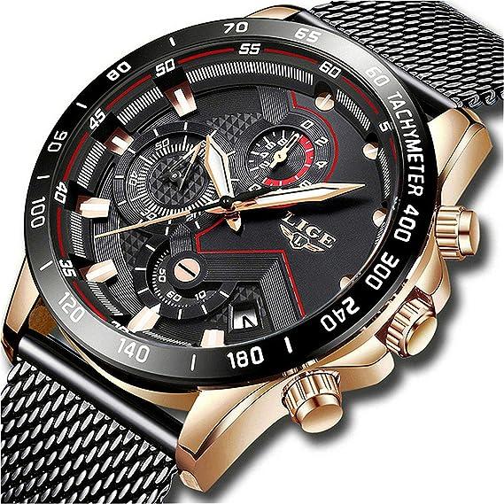 LIGE Relojes Hombre Moda Casual Impermeable Cuarzo Reloj para Hombre Acero Inoxidable Malla Banda