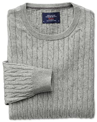 3bdb2151789f2c Light Grey Cotton Cashmere Cable Crew Neck Jumper Size XXXL by Charles  Tyrwhitt