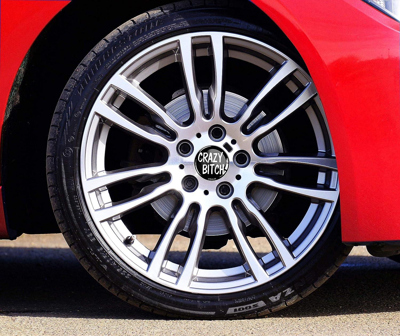 Skino/™ 4 x 60mm CAR WHEEL CENTRE CAPS RIMS HUB CRAZY BITCH SILVER DOMED BADGE VEHICLE AUTO TUNING EMBLEM C 55