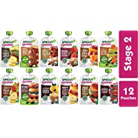 Sprout Organic Stage 2 Baby Food Pouches, 12 Flavor Variety Sampler, 12 Pouches