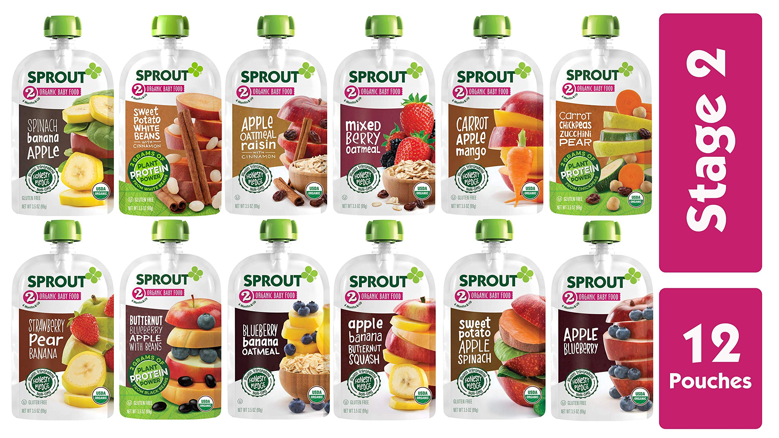Sprout Organic Stage 2 Baby Food Pouches, 12 Flavor Variety Sampler, 12 Pouches by Sprout