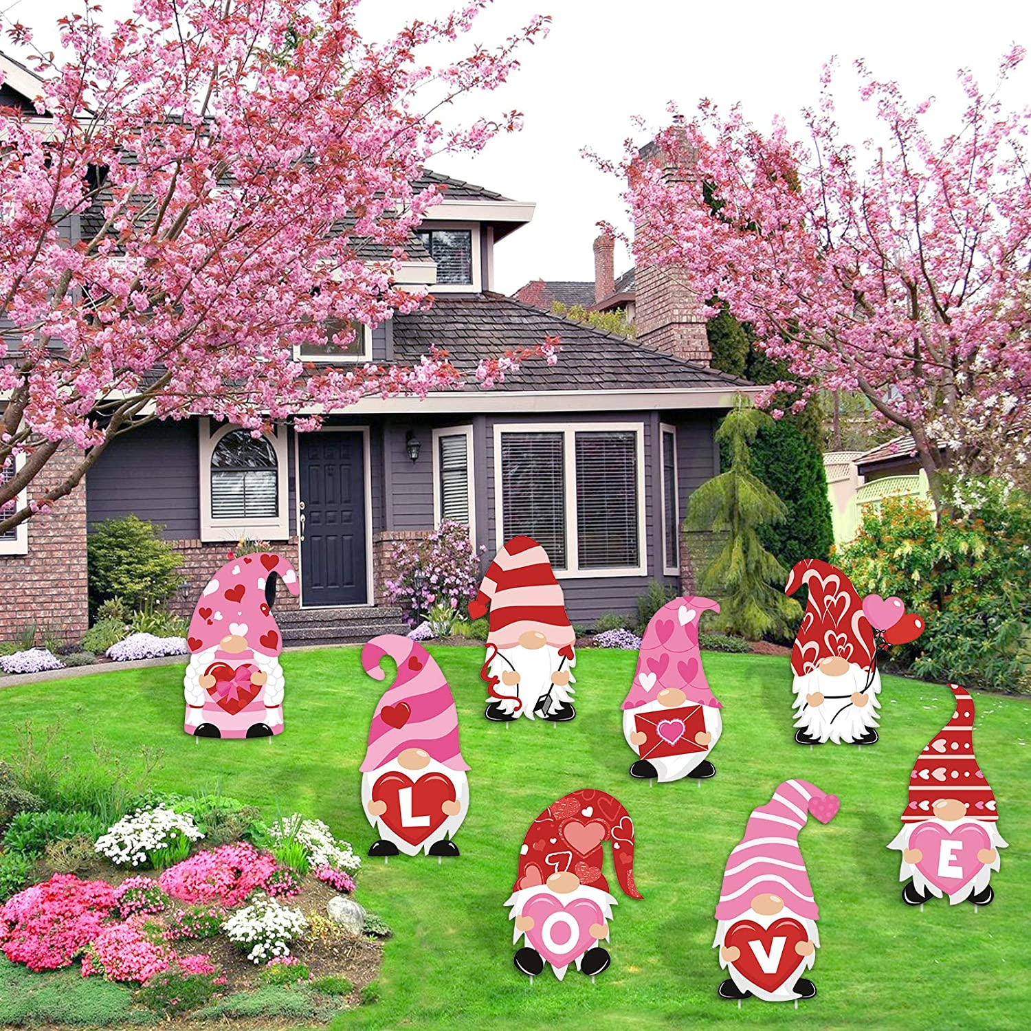 Spring Walkway Decor Huray Rayho Valentines Day Gnomes Yard Sign and Outdoor Lawn Decorations Large Love Gnomes Swedish Tomte Elf Corrugated Yard Signs with Plastic Stakes Set of 8