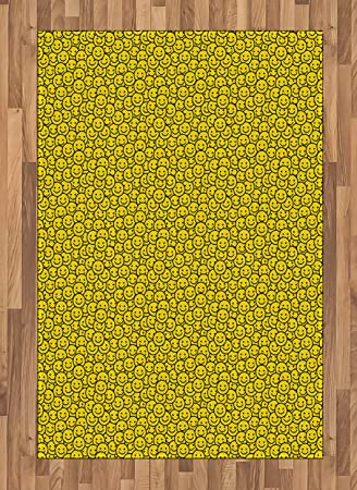 Amazon Com Ambesonne Black And Yellow Area Rug Cheerful Cartoon