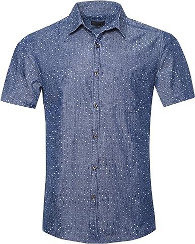SOOPO Camisa Hombre Manga Corta Camisa Unicolor Estampada de Puntos Pequeños Camisa de Vestir Camiseta Casual, Diversos Estilos y Tallas: Amazon.es: Ropa y accesorios