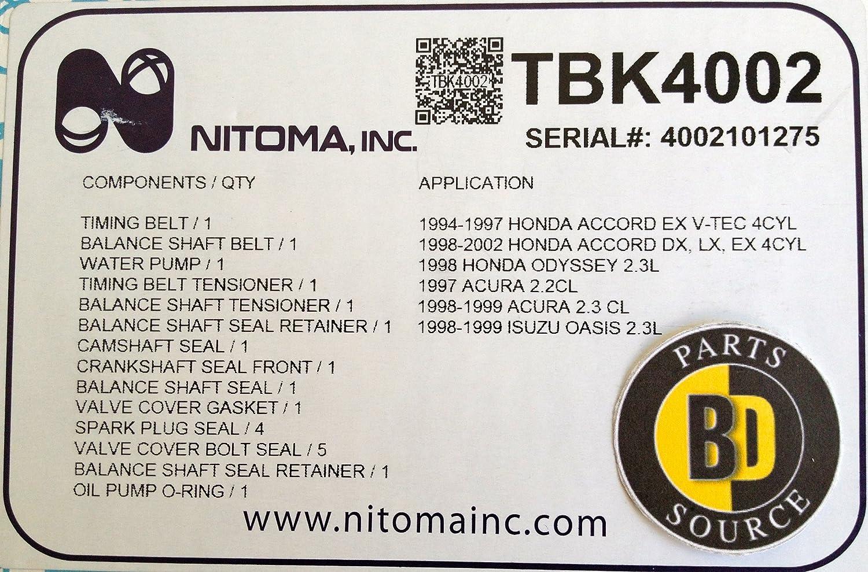 Nitoma Engine Timing Belt Tbk4002 Automotive Honda Accord Tensioner