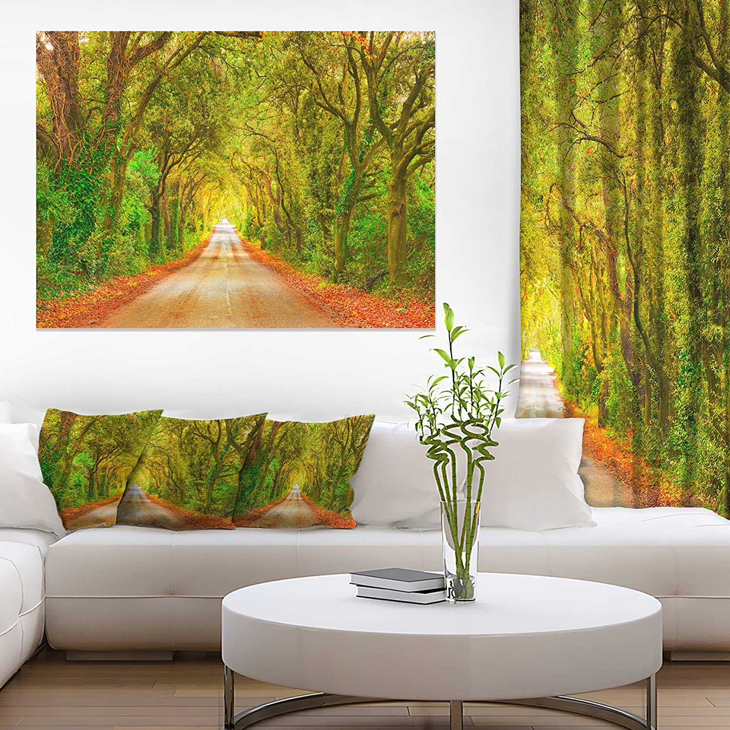 Amazon.com: Fall Greenery and Road Straight Ahead Oversized Forest ...