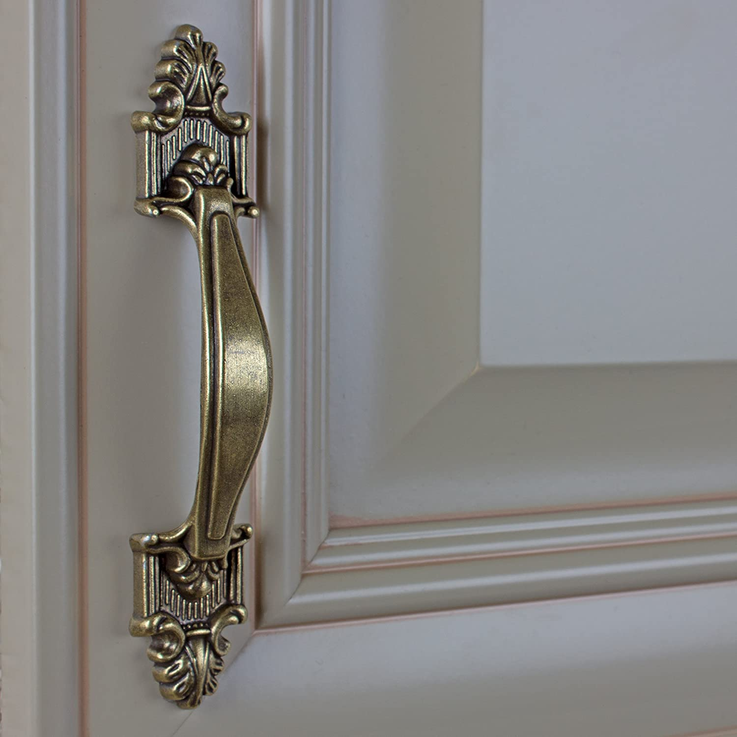 Gliderite Hardware 4116-Ab-25 3.5 Inch Cc Deco Cabinet Pull 25 Pack, Antique Brass Finish