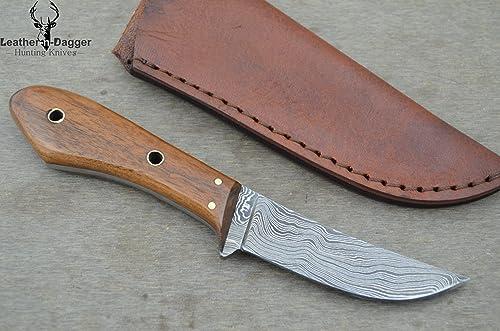 Leather-n-Dagger Huge Sale Scandinavian Viking Professional Custom Handmade Damascus Steel Skinner Hunting Knife Ld123