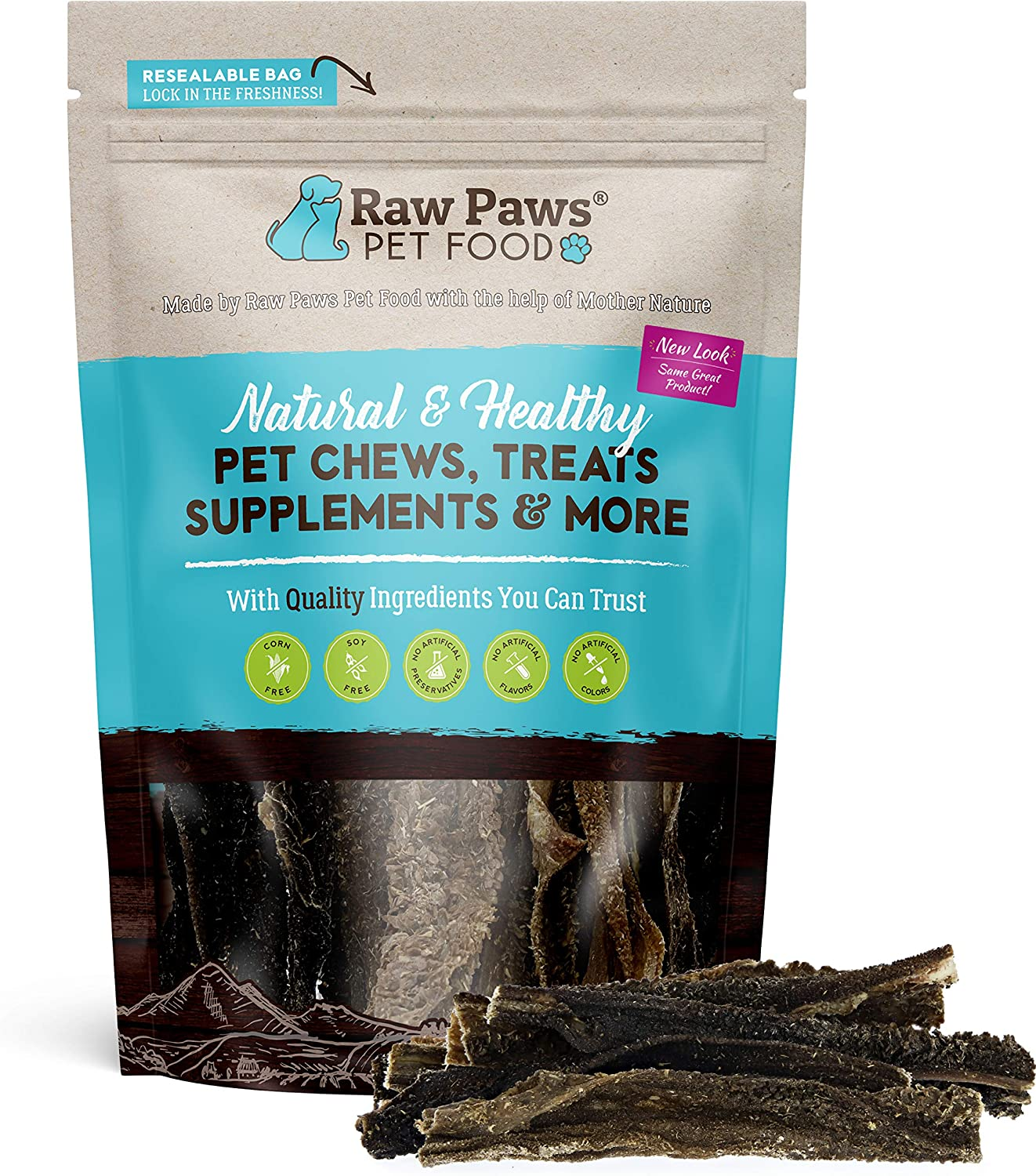 Raw Paws Natural Lamb Tripe Sticks for Dogs - Packed in USA - Green Tripe for Dogs from Free-Range, Grass Fed Lamb with No Added Antibiotics or Hormones - Crunchy, Dehydrated Dog Tripe Treats