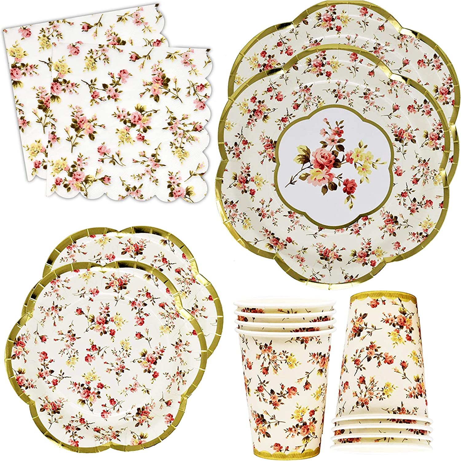 "Gold Foil Vintage Floral Party Supplies Set Scalloped Edge 24 9"" Plates 24 7"" Plate 24 9 Oz Cup 50 Lunch Napkin for Bridal Baby Shower Wedding Reception Garden Flower Birthday Tea Party Tableware"
