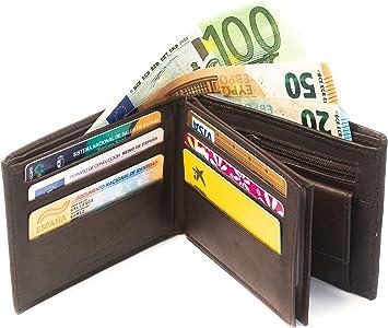 Cartera de cuero para hombre fabricada de forma artesanal en España (Made in Murcia, Spain), marca Oboly » 16 compartimentos de tarjeta + 2 monederos + 2 compartimentos para Euros: Amazon.es: Equipaje