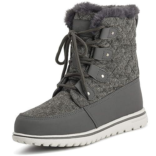 fada07d1963 Polar Womens Waterproof Durable Snow Winter Hiking Fleece Ankle Boots