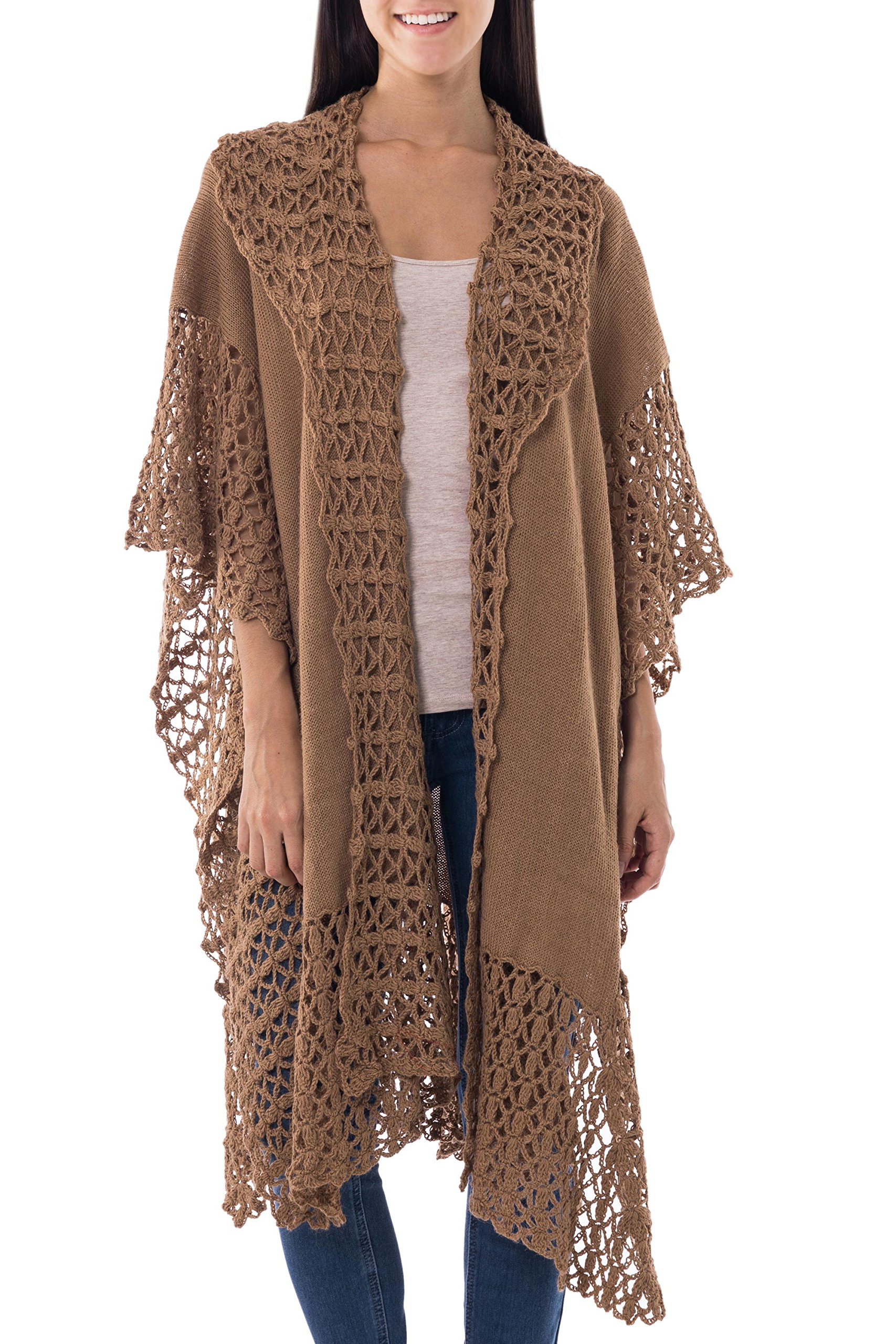 NOVICA Brown 100% Alpaca Ruana Cloak Poncho, 'Spiced Cider' by NOVICA
