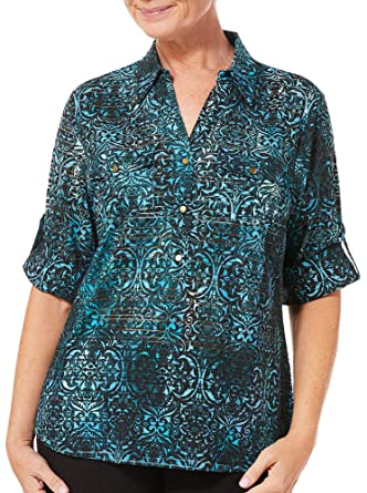 74bbad4d65d48c Cathy Daniels Womens Scroll Print Roll Tab Top Small Blue/Black at Amazon Women's  Clothing store: