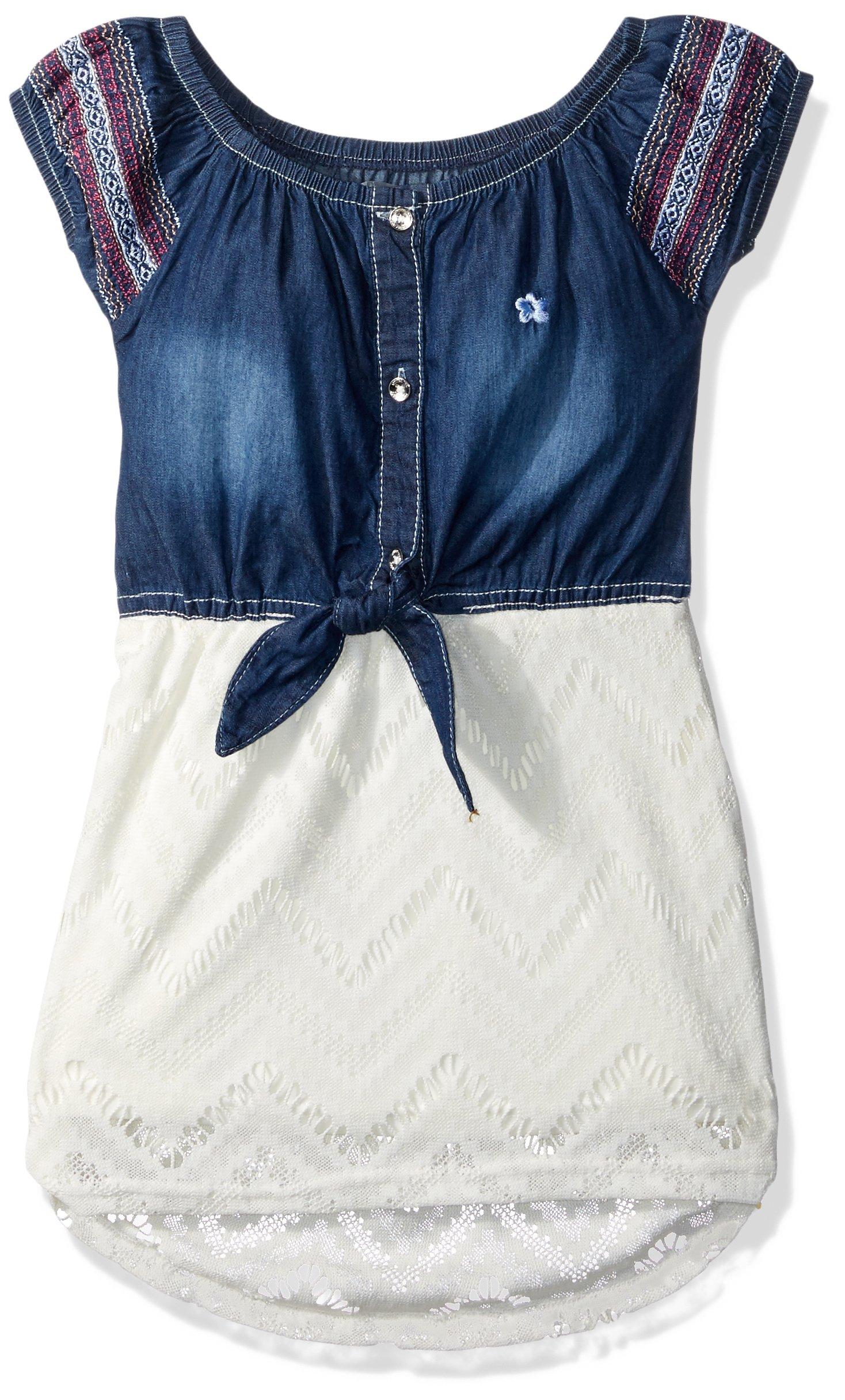 Limited Too Big Girls' Casual Dress, Texture Stripe Top with Stretch Denim Vanilla, 7
