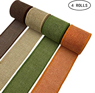 Burlap Wired Ribbon Rolls Wrapping Ribbon with Natural Orange Brown Olive Green Jute for Wedding Floral Bows Trims Craft Christmas Crafts Decoration, 13.2 Yards × 2.4 Inch (4 Rolls)