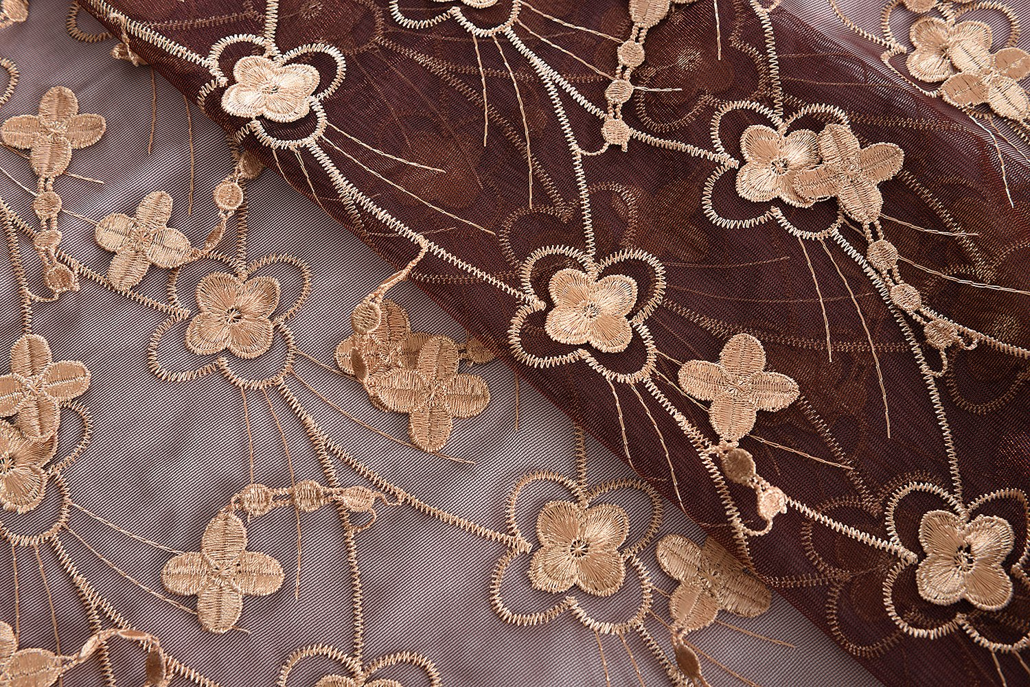 Aside Bside 4 Petals Floral Embroidered Sheer Curtains with Draping Embroidery Decorations Rod Pocket Top Brilliant Design (1 Panel, W 52 x L 104 inch, Red 6) -1281638521048506C1PGC by Aside Bside (Image #6)