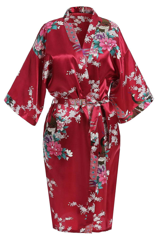 USDisc't Elegant Women's Kimono Robe for Parties Bridal and Bridesmaid Short USDisc' t