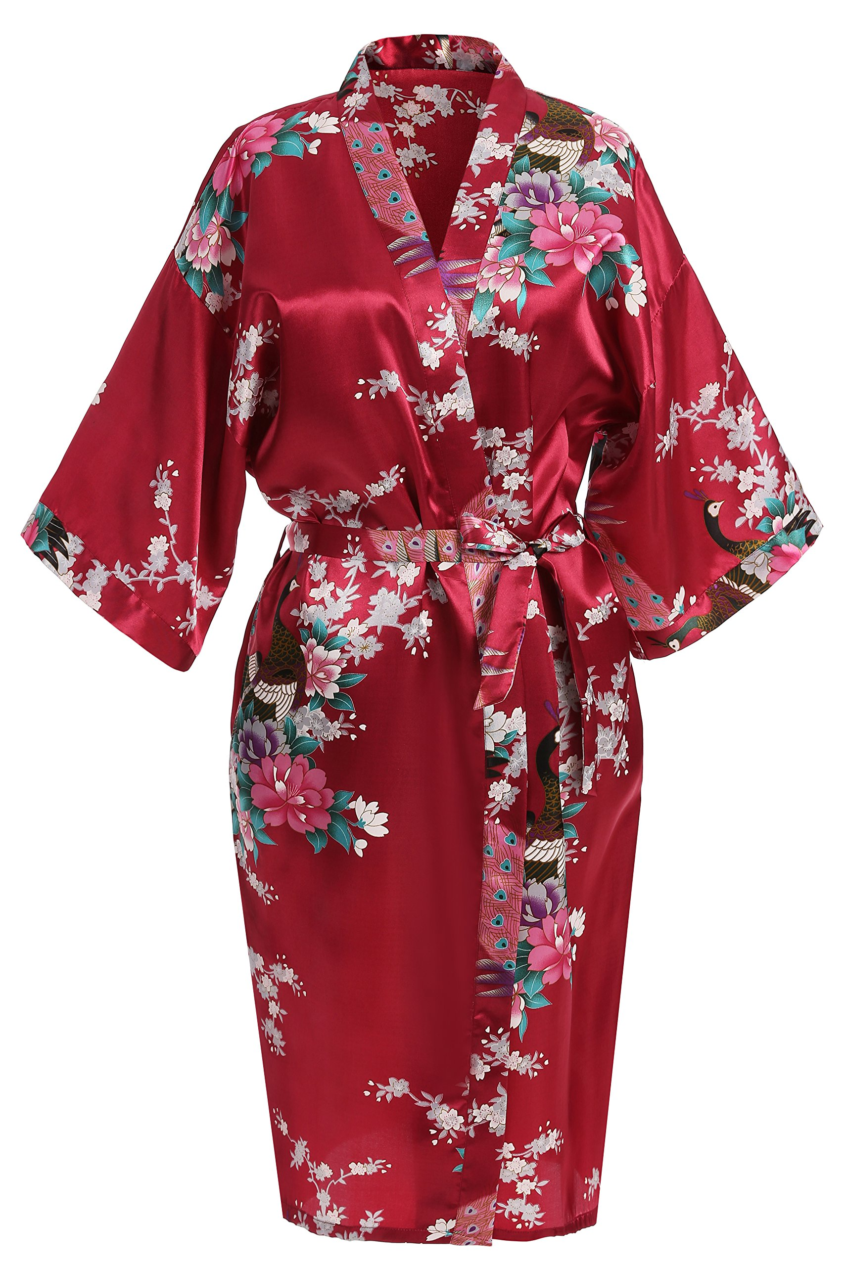 USDisc't Elegant Women's Kimono Robe for Parties Bridal and Bridesmaid Short (M, Red)
