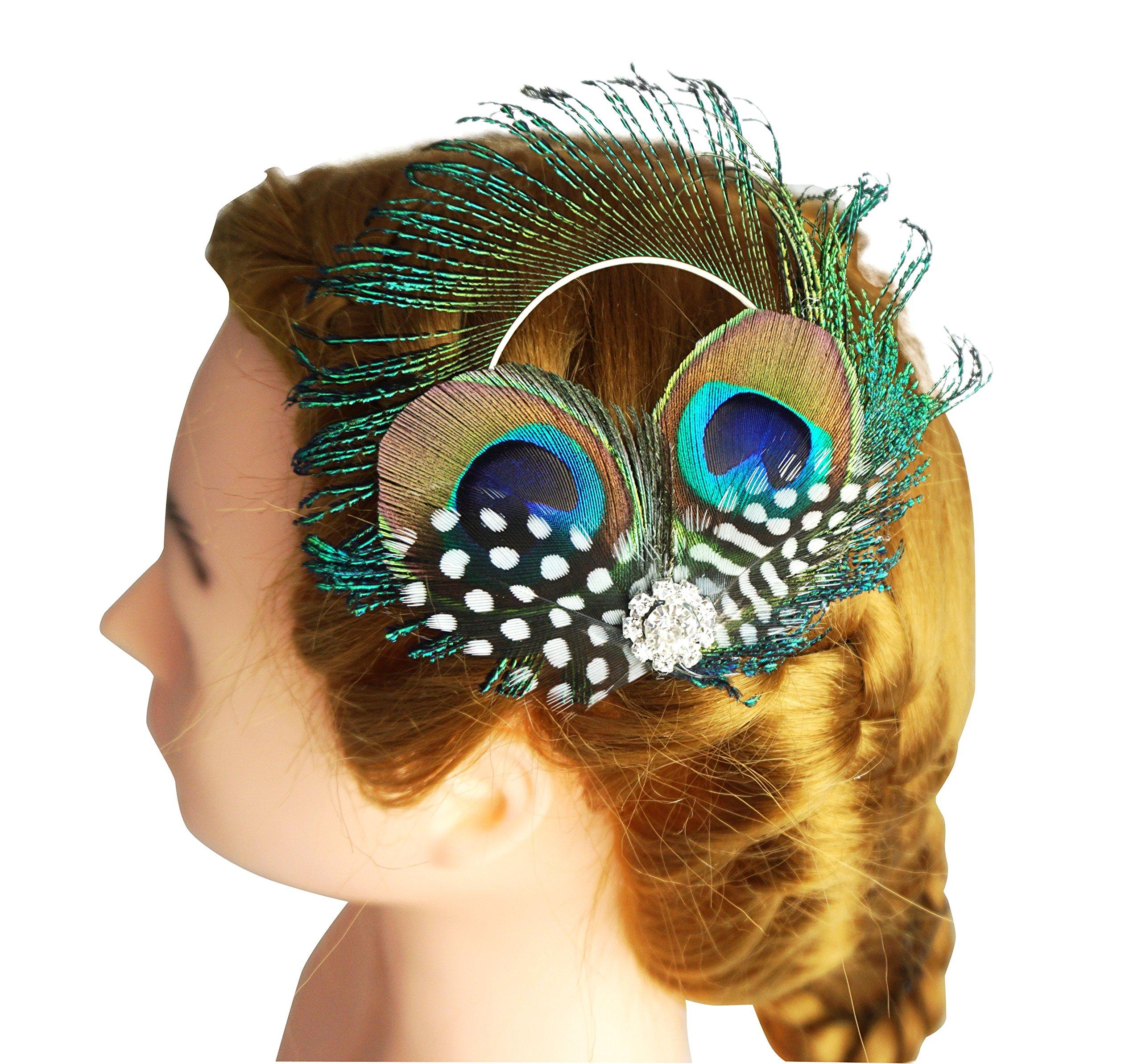Blank K Peacock Feather Hair Clip Wedding Bridal Headpiece Derby Tea-party Hair Clip